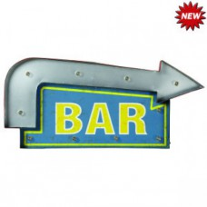 METAL SIGN BAR ARROW (BLUE/YELLOW) Wall Sign