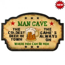 MAN CAVE-COLDEST BEER IN TOWN WALL SIGN