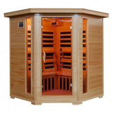 Tucson - Hemlock 4 Person FAR Infrared Sauna - Carbon Heaters - Corner Unit