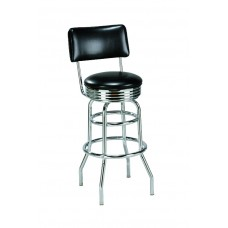 Backed Diner-style Barstool with Double-rung Metal Legs
