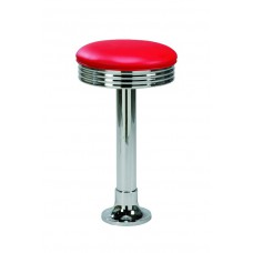 Backless Diner-style Barstool with A Single Metal Leg
