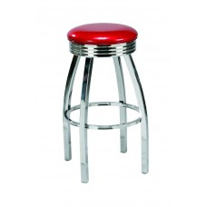 Backless Diner-style Barstool with Curved Metal Legs