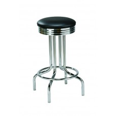 Backless Diner-style Barstool with Single-Rung Metal Legs