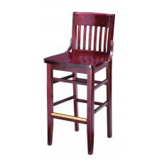 Slat Back Barstool with Wooden Legs