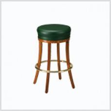 Padded Round Barstool with Wooden Legs