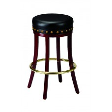 Backless Barstool with Nailhead Trim and Wooden Legs